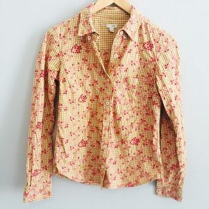 Odille Plaid Floral Button Down | Size 4